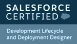 logo of Salesforce Development Lifecycle and Deployment Designer Certificate